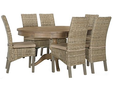 Jaden Light Tone Round Table & 4 Cushioned Woven Chairs