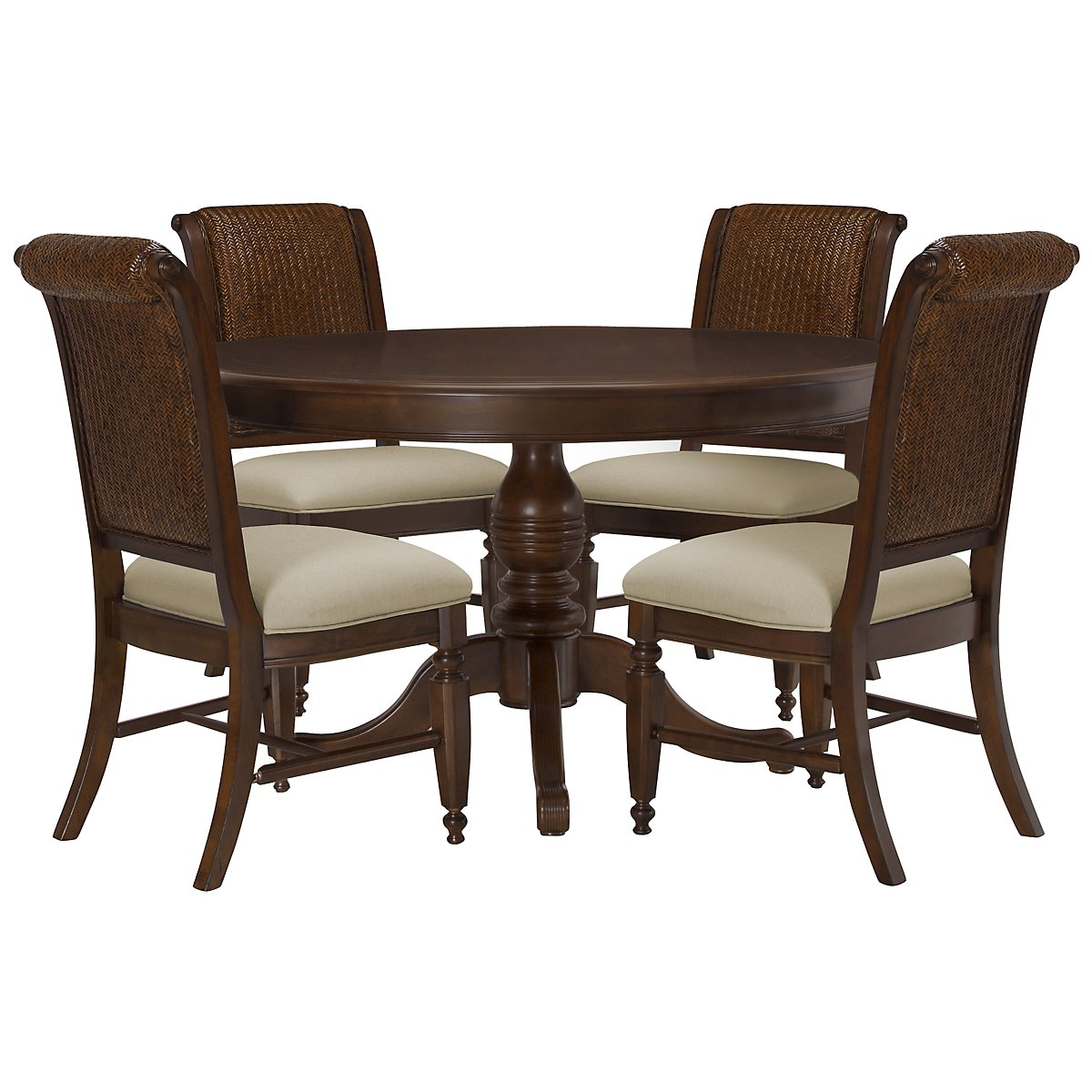 Claire Dark Tone Round Table & 4 Woven Chairs