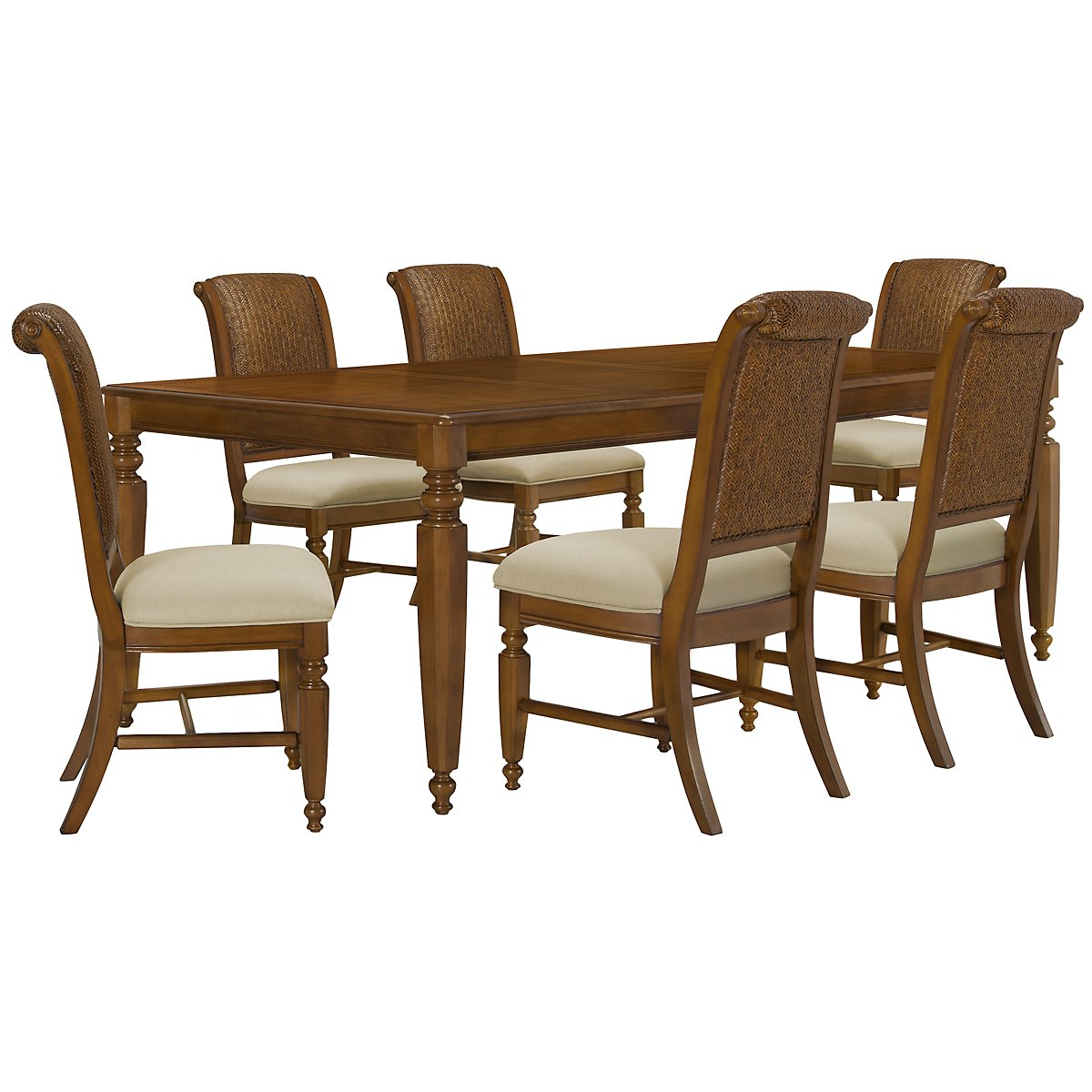 Claire Mid Tone Rectangular Table & 4 Woven Chairs