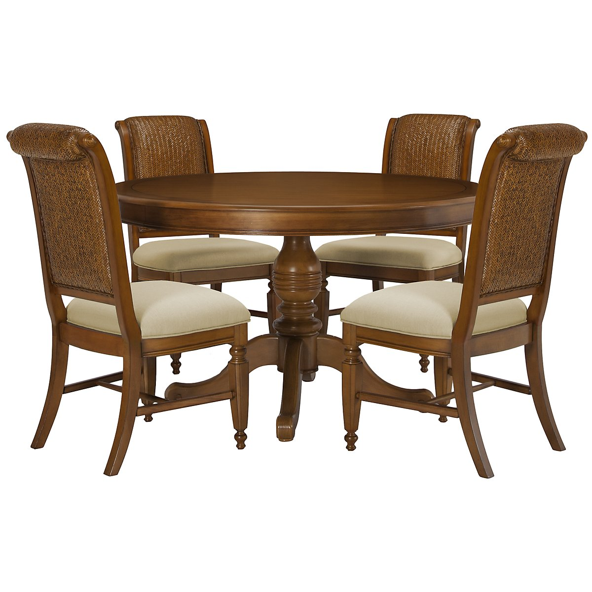 Claire Mid Tone Round Table & 4 Woven Chairs
