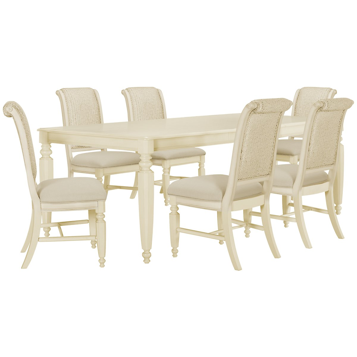 Claire White Rectangular Table & 4 Woven Chairs