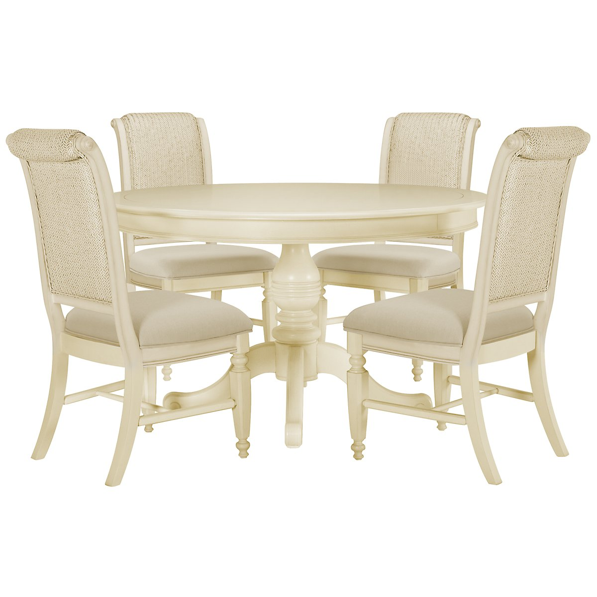 Claire White Round Table & 4 Woven Chairs