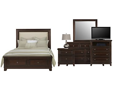 Harwich Dark Tone Upholstered Panel Storage Bedroom Package