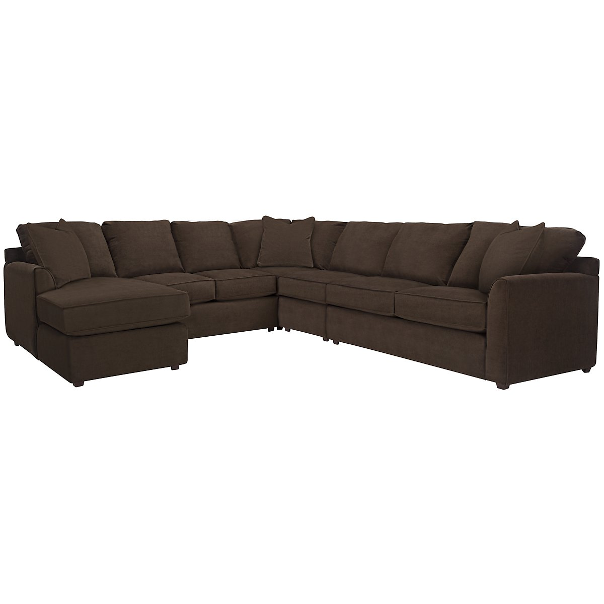 Express3 Dark Brown Microfiber Large Left Chaise Sectional