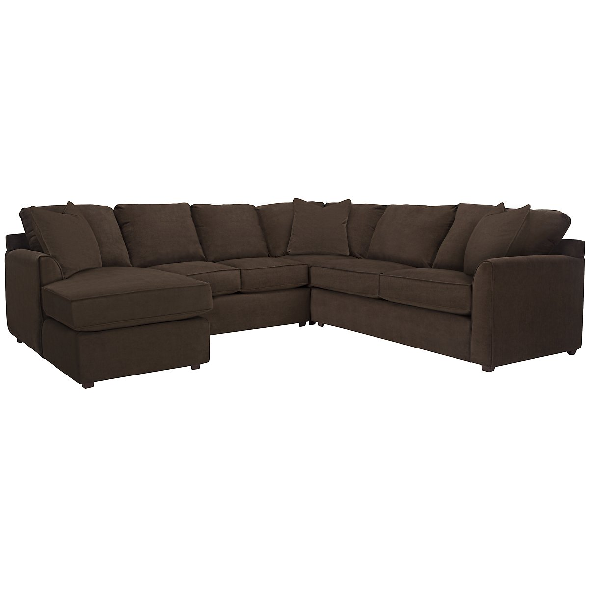 Express3 Dark Brown Microfiber Small Left Chaise Sectional