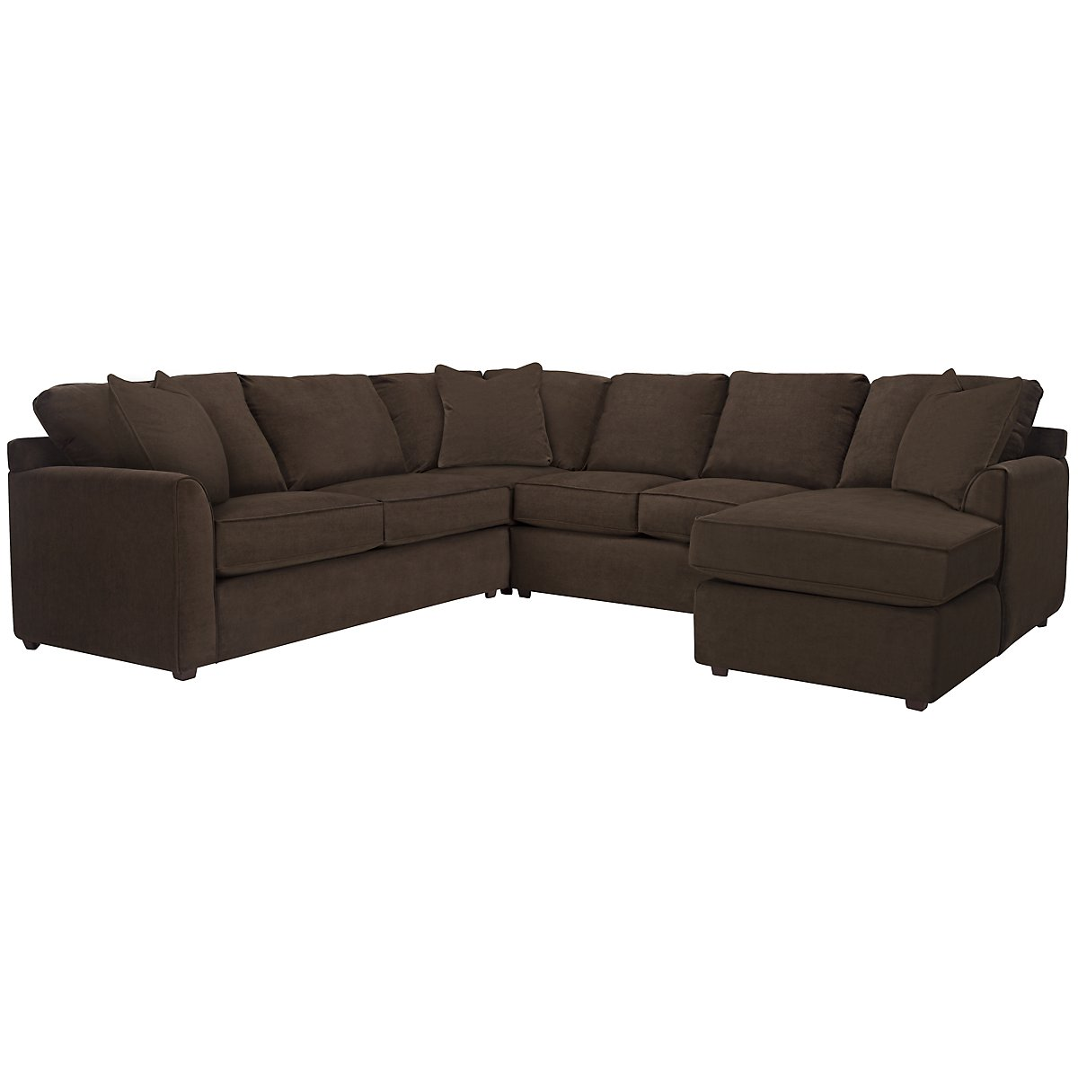 Express3 Dk Brown Microfiber Small Right Chaise Sectional