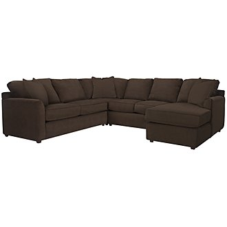 Product Image: Express3 Dk Brown Microfiber Small Right Chaise Sectional