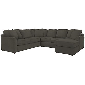Product Image: Express3 Dk Gray Microfiber Small Right Chaise Sectional