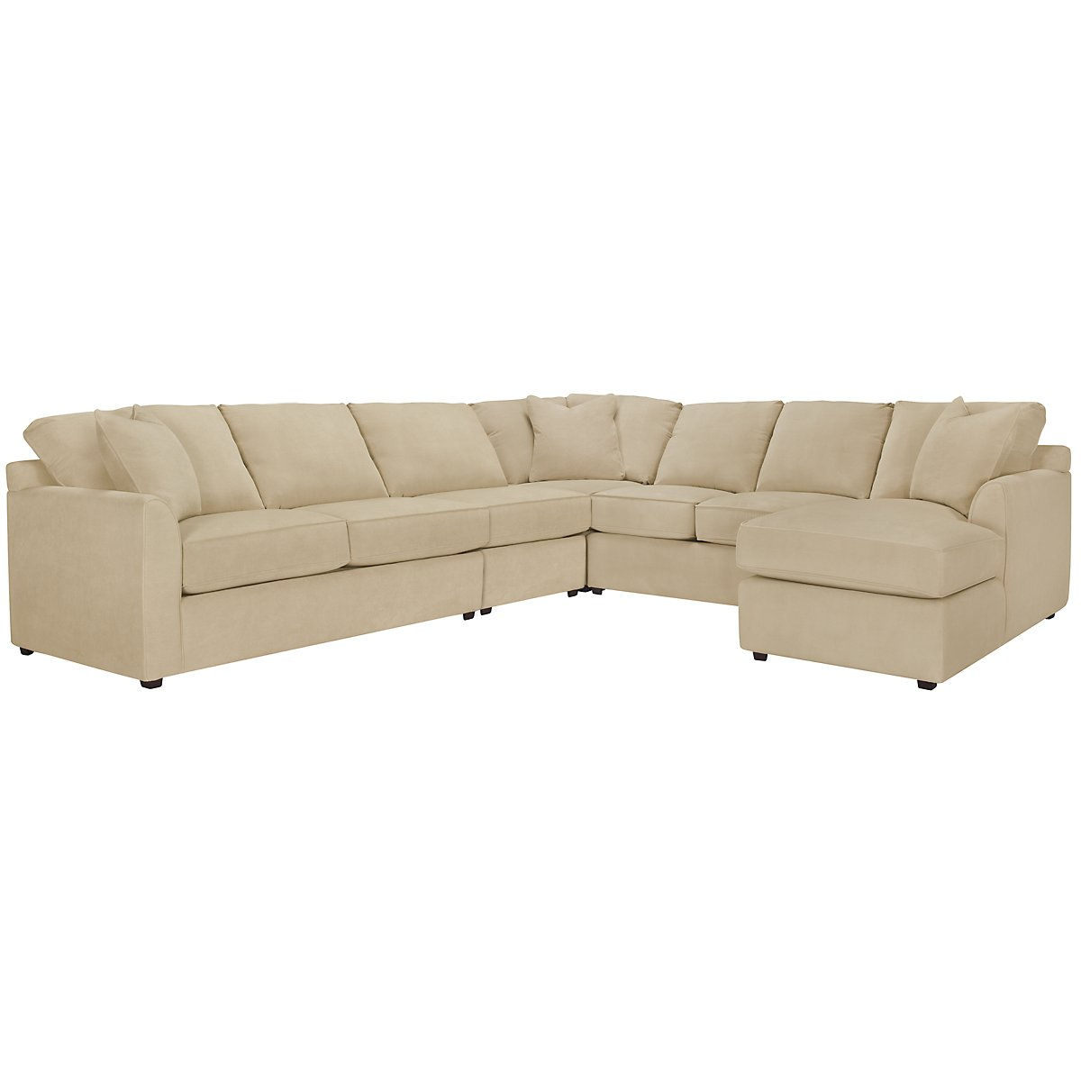 Express3 Light Beige Microfiber Large Right Chaise Sectional