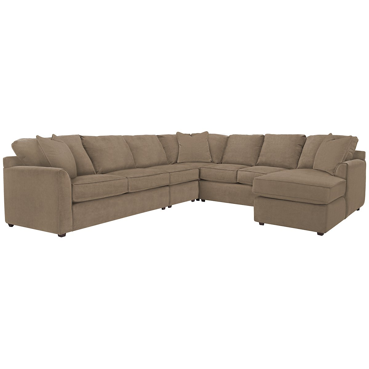 Express3 Light Brown Microfiber Large Right Chaise Sectional