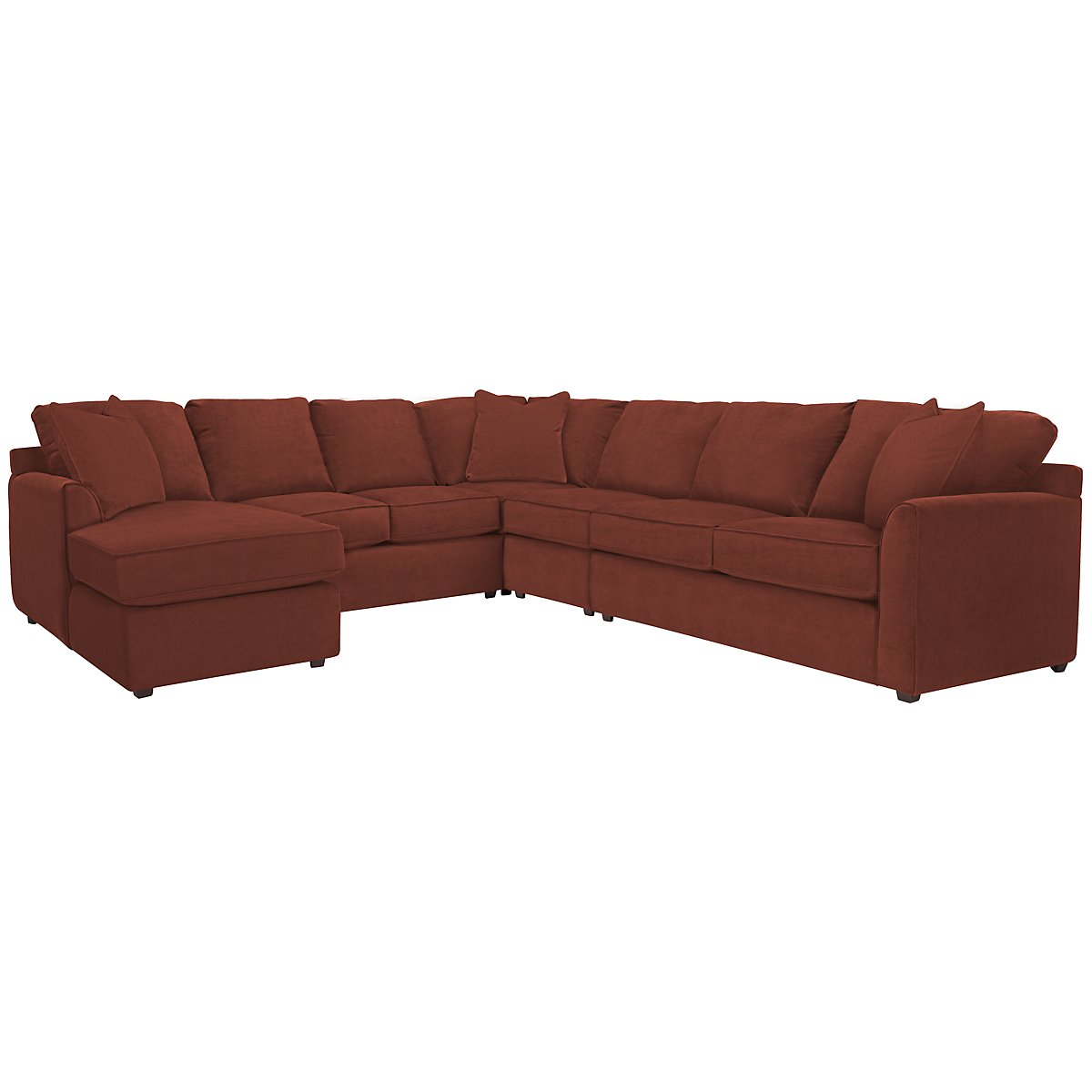 Express3 Red Microfiber Large Left Chaise Sectional