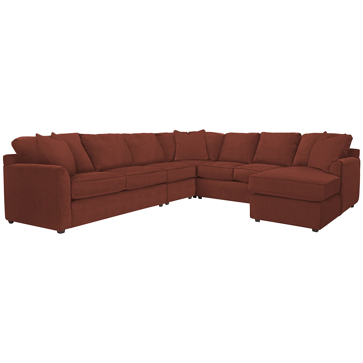 Express3 Red Microfiber Large Right Chaise Sectional