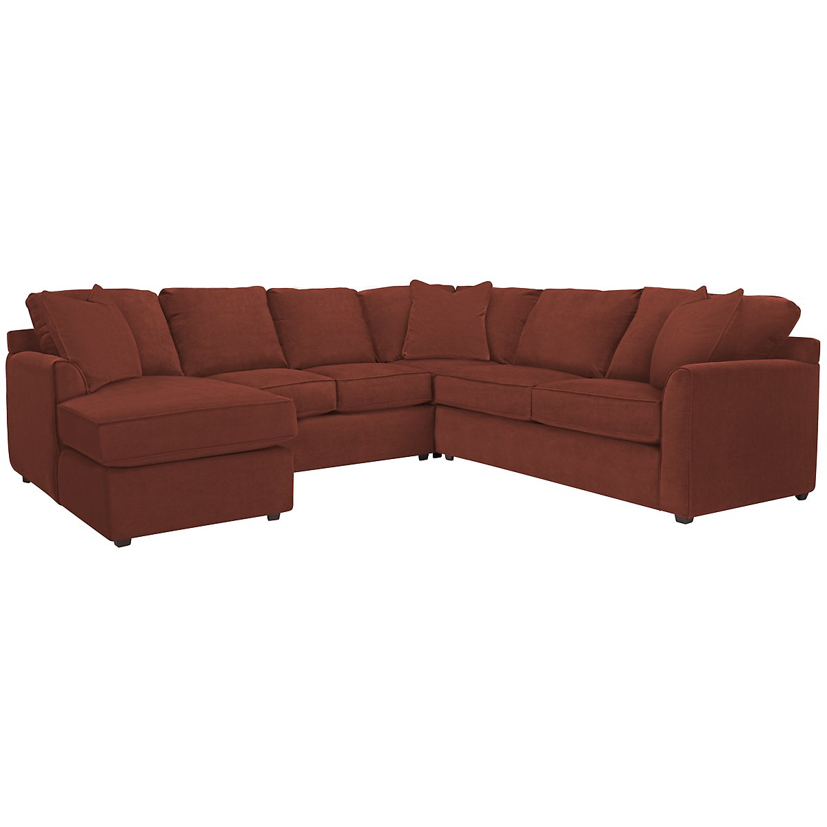 Express3 Red Microfiber Small Left Chaise Sectional