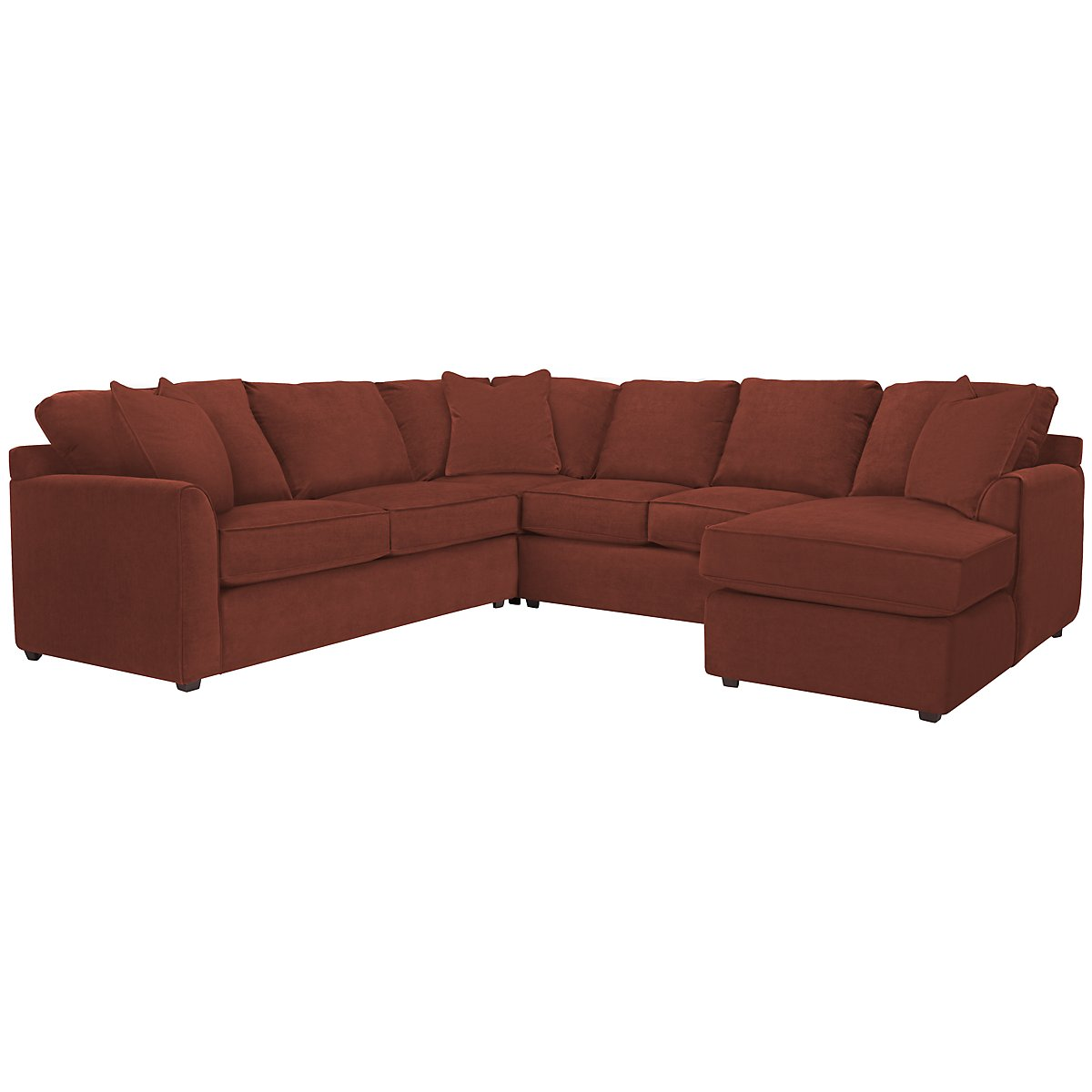 Express3 Red Microfiber Small Right Chaise Sectional