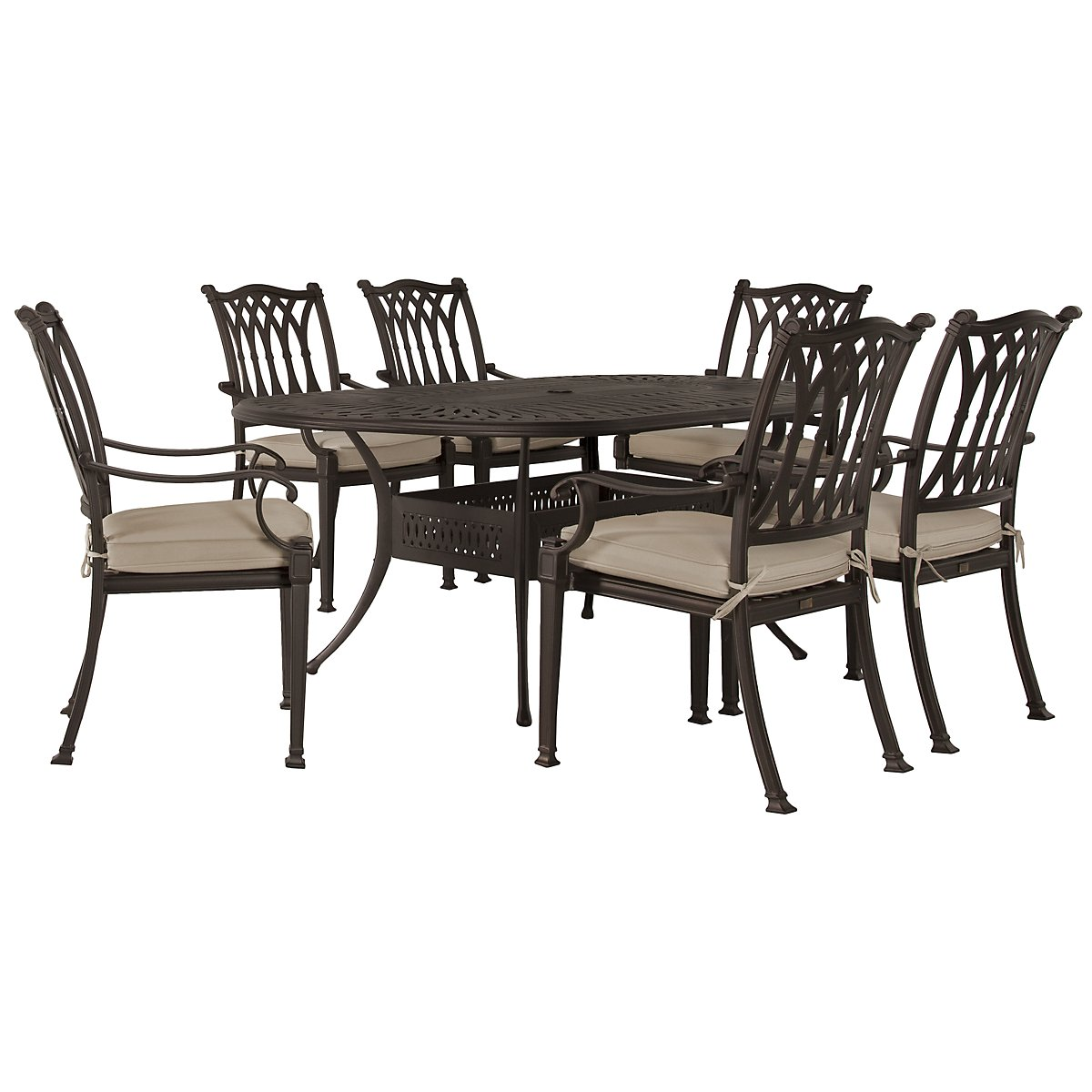"Primera Dark Tone 72"" Oval Table & 4 Cushioned Chairs"