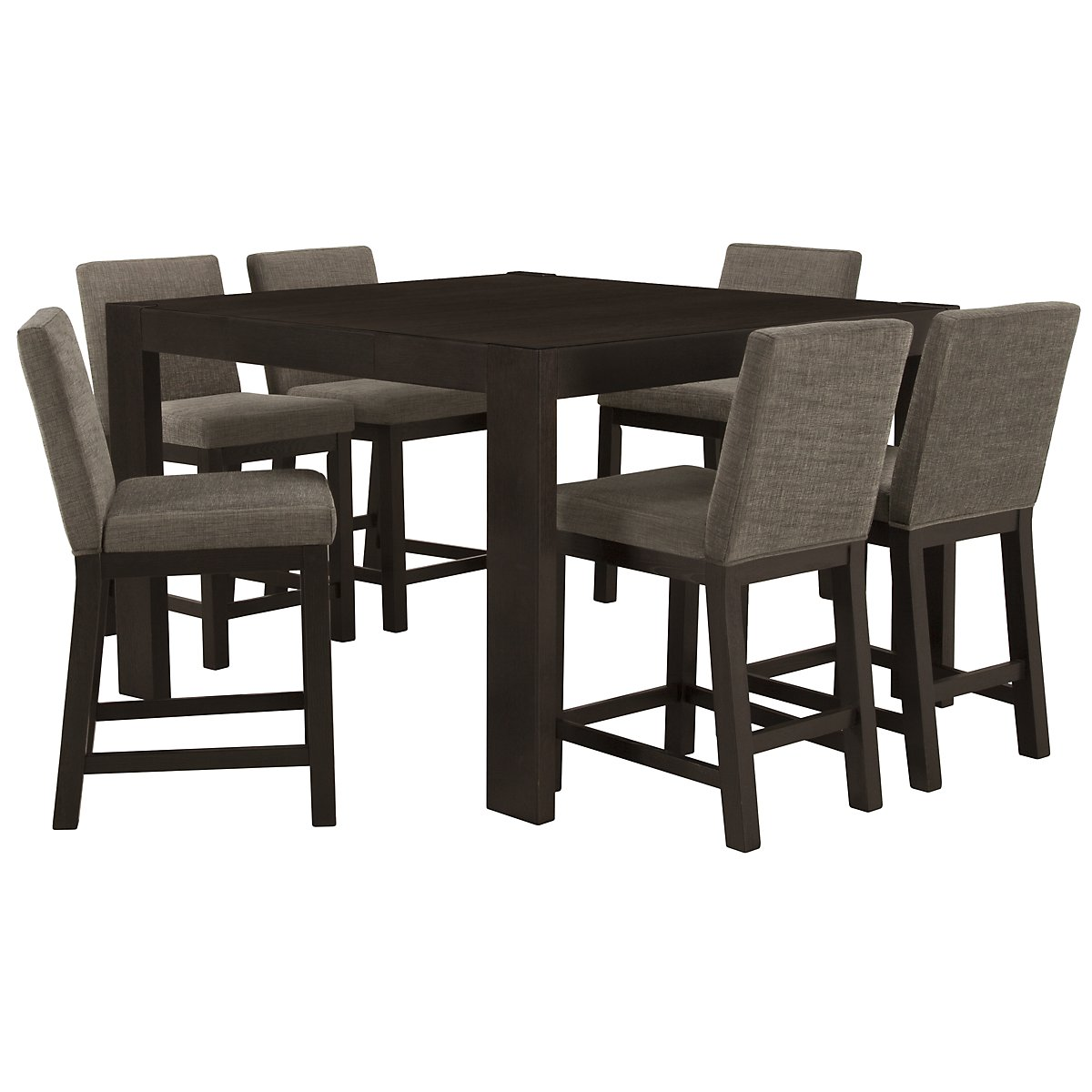 Tocara Dark Tone High Table & 4 Upholstered Barstools