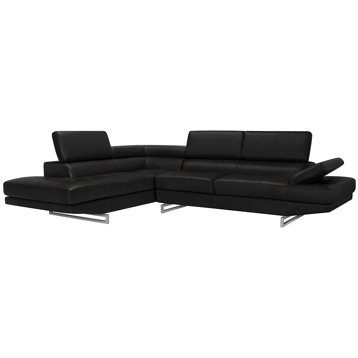 Athena Black Bonded Leather Left Bumper Sectional