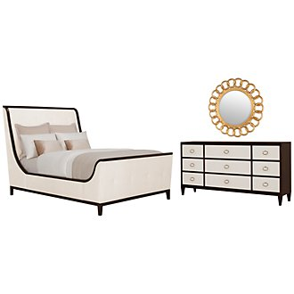 Jet Set Beige Upholstered Sleigh Bedroom