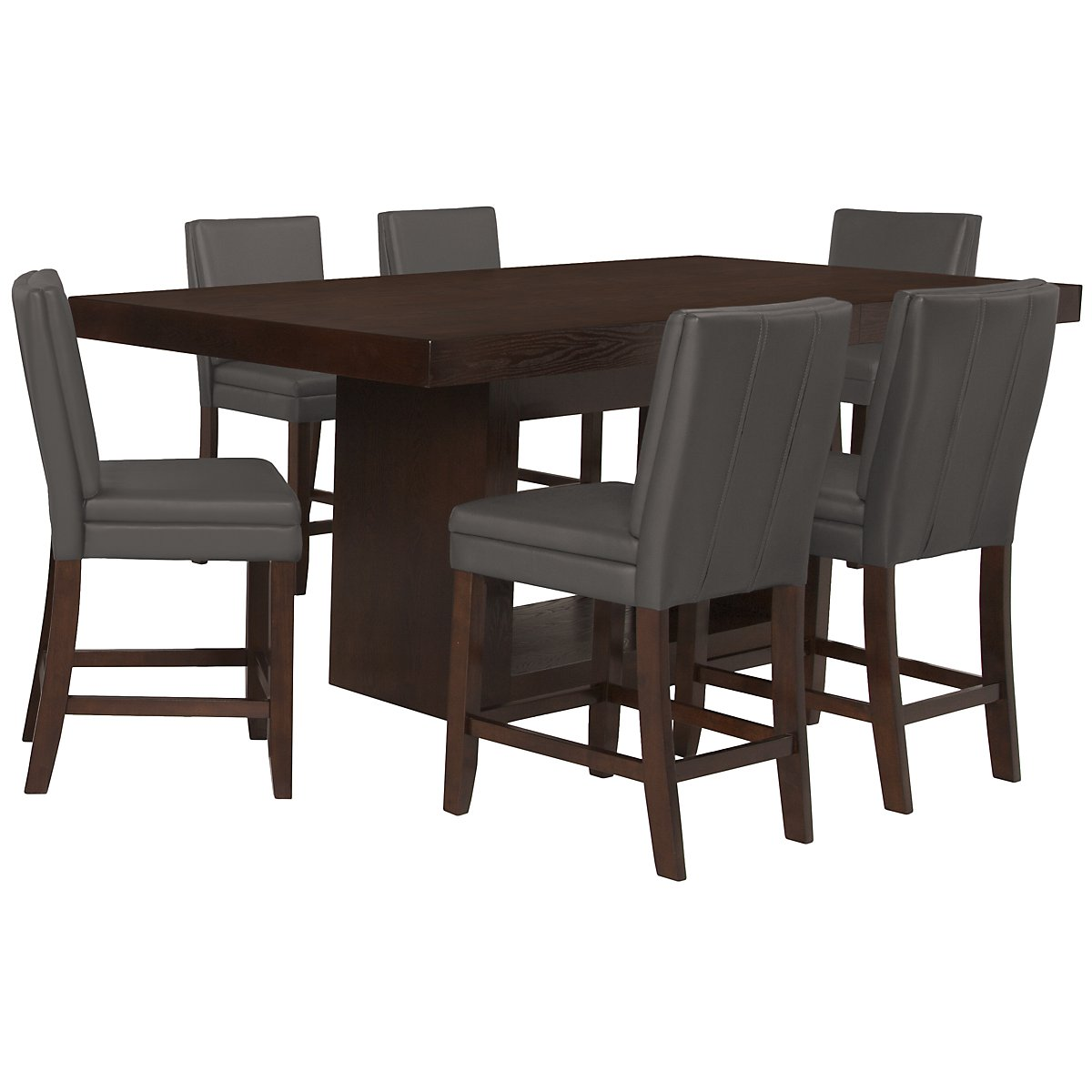 Antonio Dk Gray High Table & 4 Bonded Barstools
