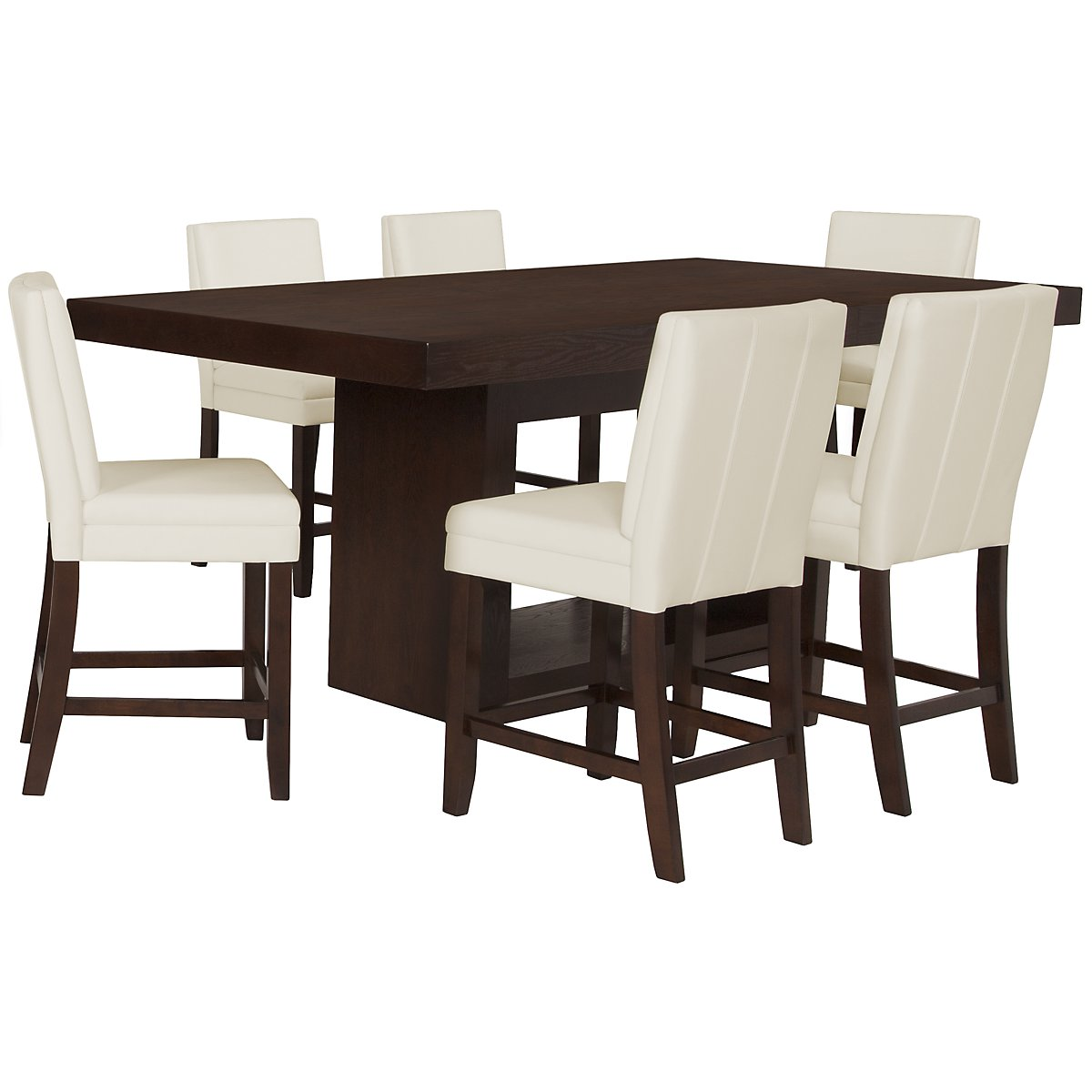 Antonio White High Table & 4 Bonded Barstools