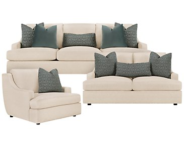 Josh Light Beige Fabric Living Room