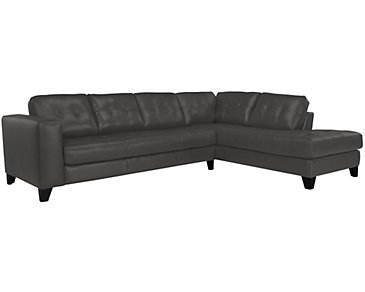 Elle Dark Gray Leather & Bonded Leather Right Bumper Sectional