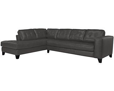 Elle Dark Gray Leather & Bonded Leather Left Bumper Sectional