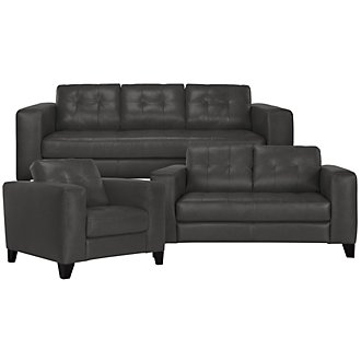 Elle Dk Gray Leather & Bonded Leather Living Room