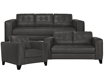 Elle Dark Gray Leather & Bonded Leather Living Room