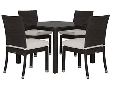 "Zen White 40"" Square Table & 4 Chairs"