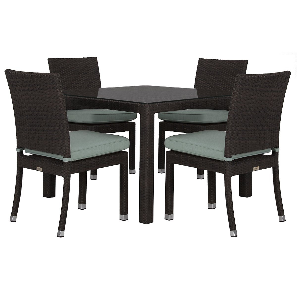 "Zen Teal 40"" Square Table & 4 Chairs"