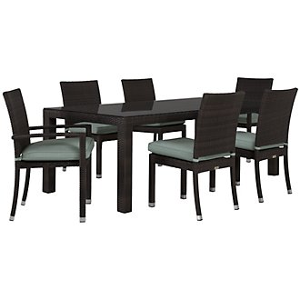 "Zen Teal 84"" Rectangular Table & 4 Chairs"