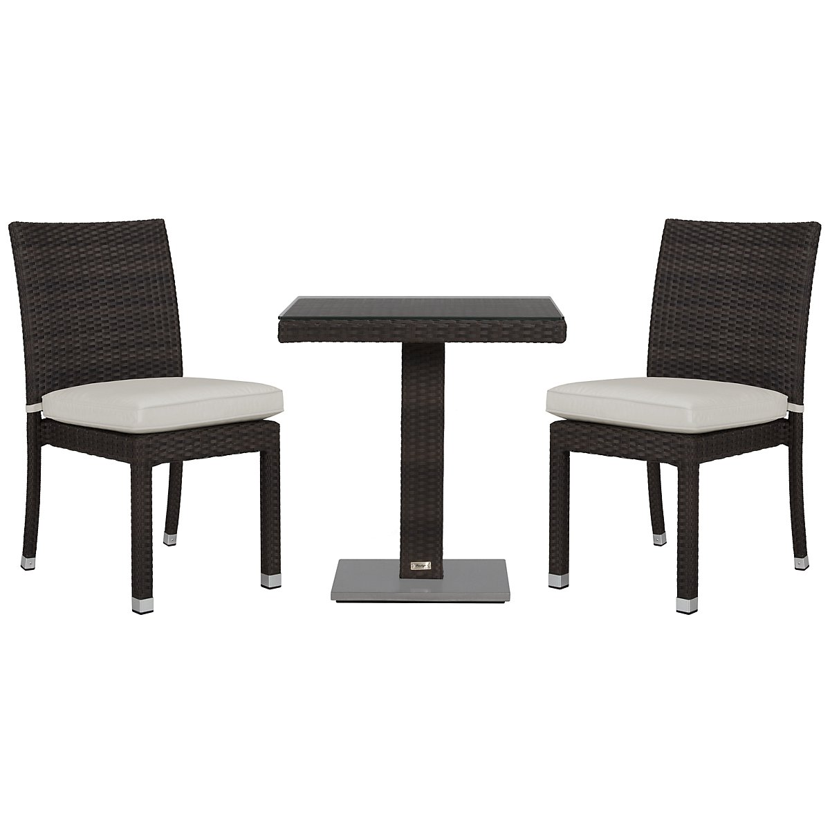 "Zen White 27"" Square Table & 2 Chairs"