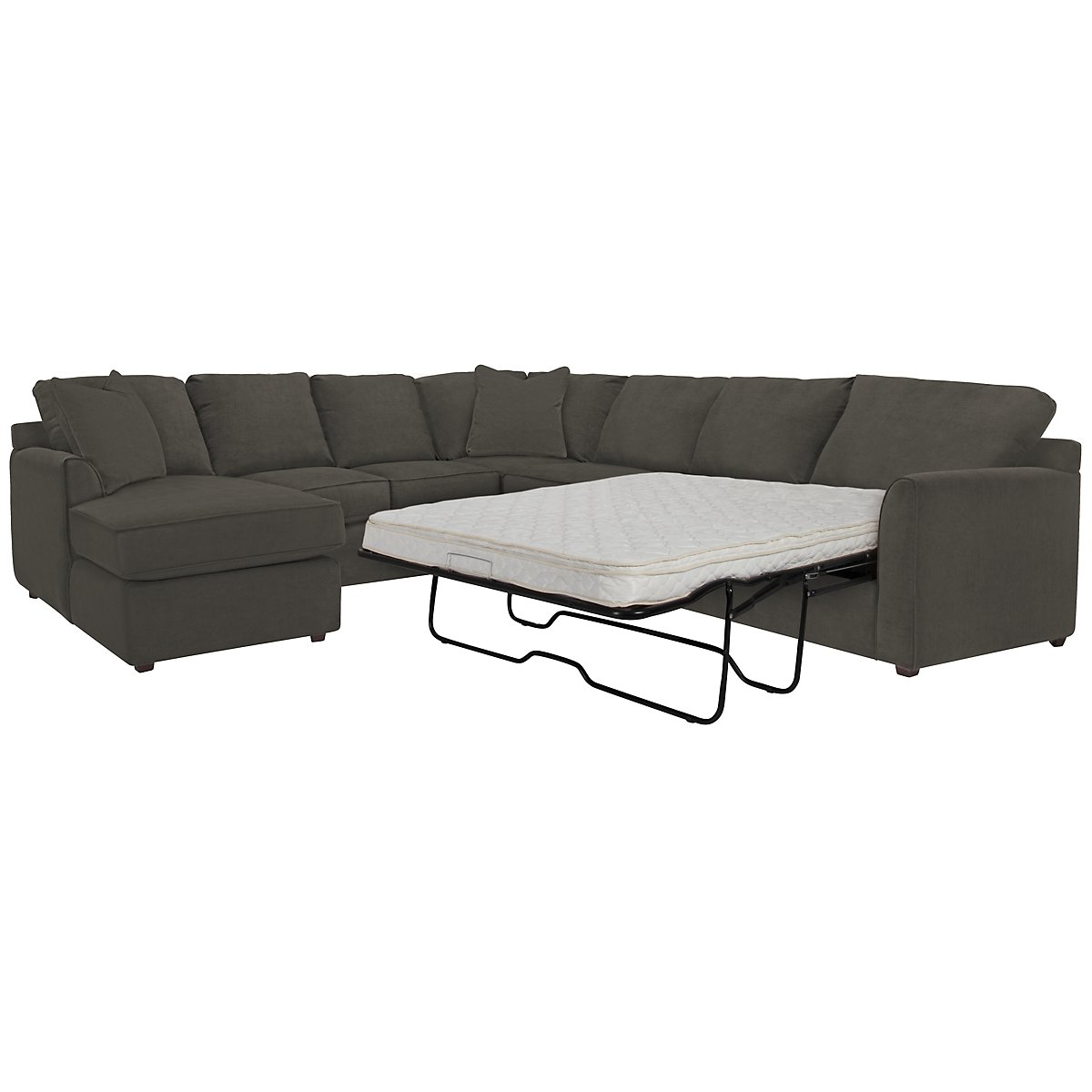 Express3 Dk Gray Microfiber Left Chaise Innerspring Sleeper Sectional