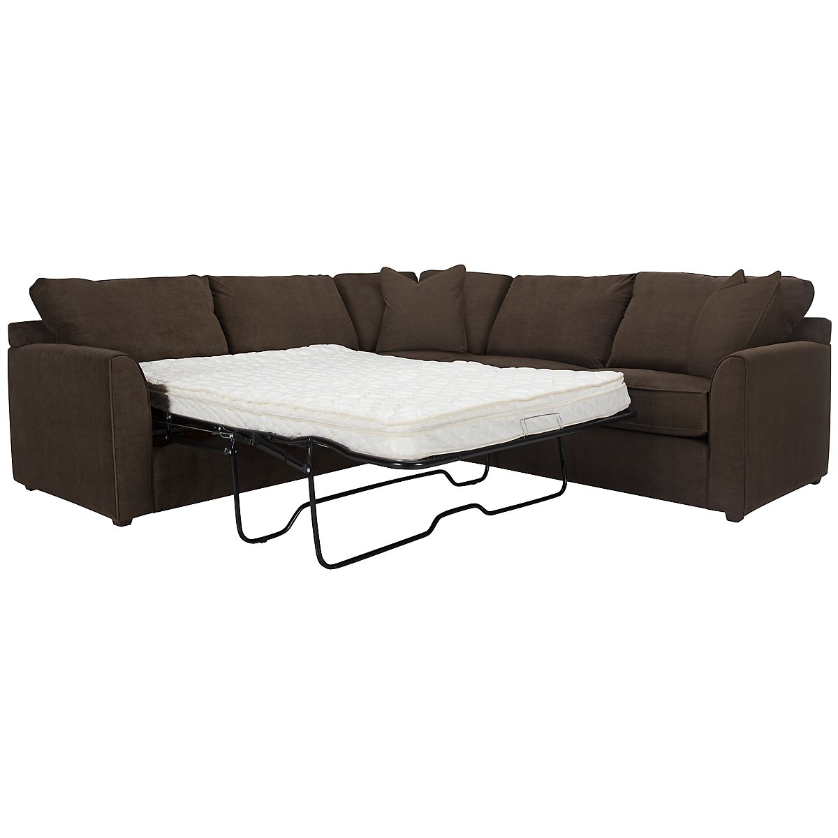 Express3 Dk Brown Microfiber Two-Arm Left Innerspring Sleeper Sectional
