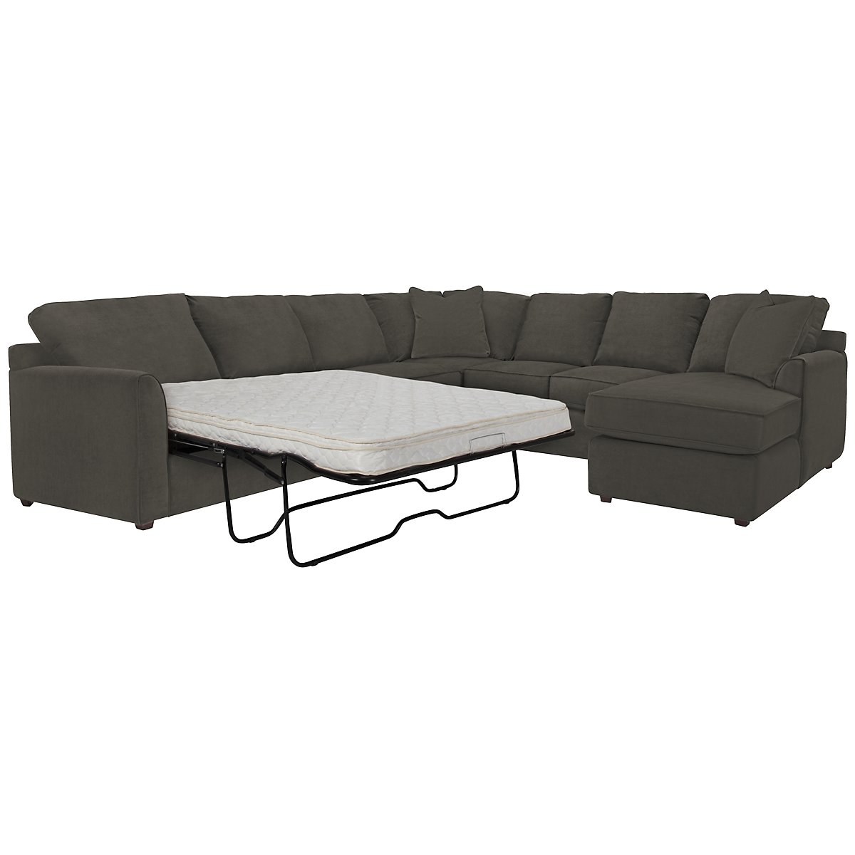 Express3 Dark Gray Microfiber Right Chaise Innerspring Sleeper Sectional