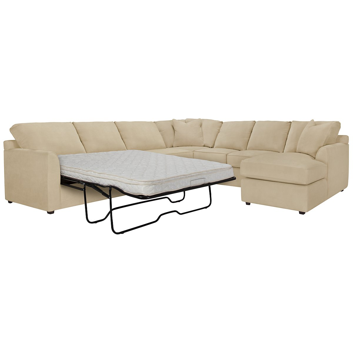 Express3 Light Beige Microfiber Right Chaise Innerspring Sleeper Sectional