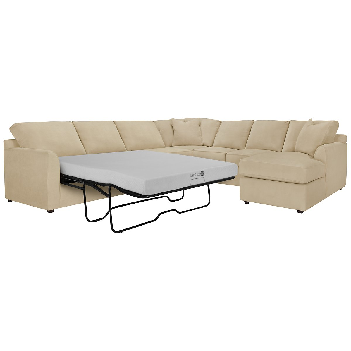 Express3 Light Beige Microfiber Right Chaise Memory Foam Sleeper Sectional