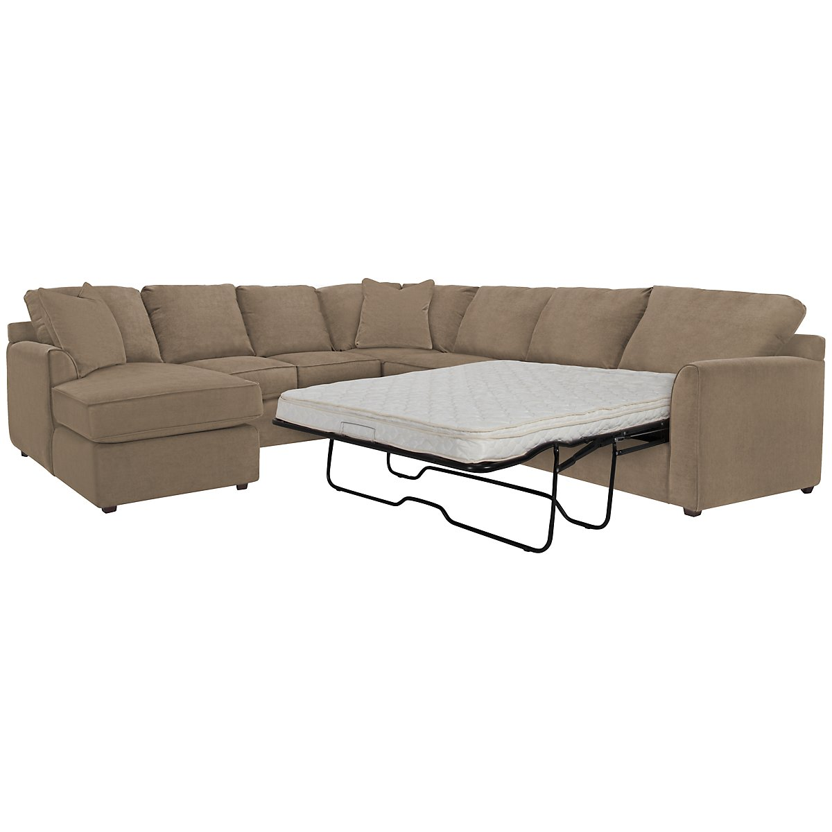 Express3 Light Brown Microfiber Left Chaise Innerspring Sleeper Sectional