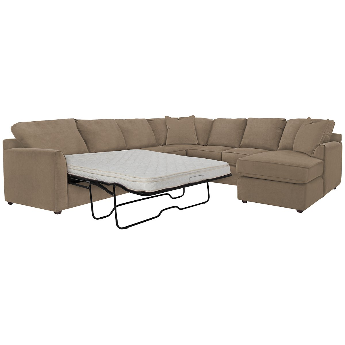 Express3 Light Brown Microfiber Right Chaise Innerspring Sleeper Sectional