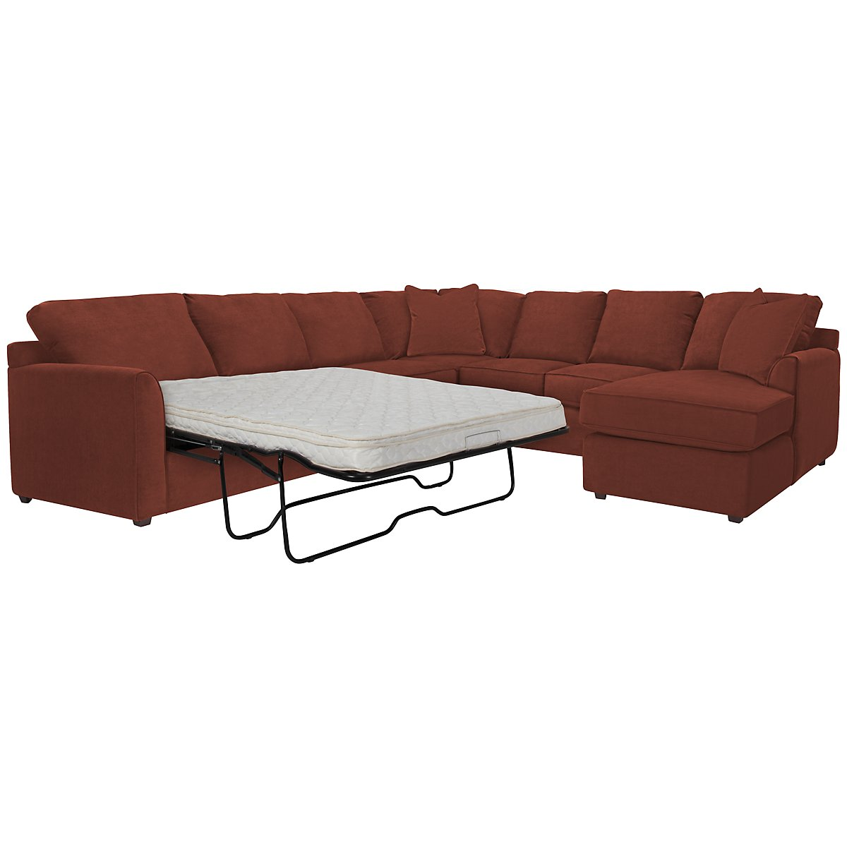 Express3 Red Microfiber Right Chaise Innerspring Sleeper Sectional
