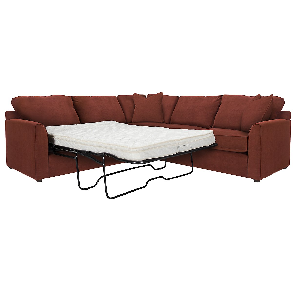 Express3 Red Microfiber Two-Arm Left Innerspring Sleeper Sectional