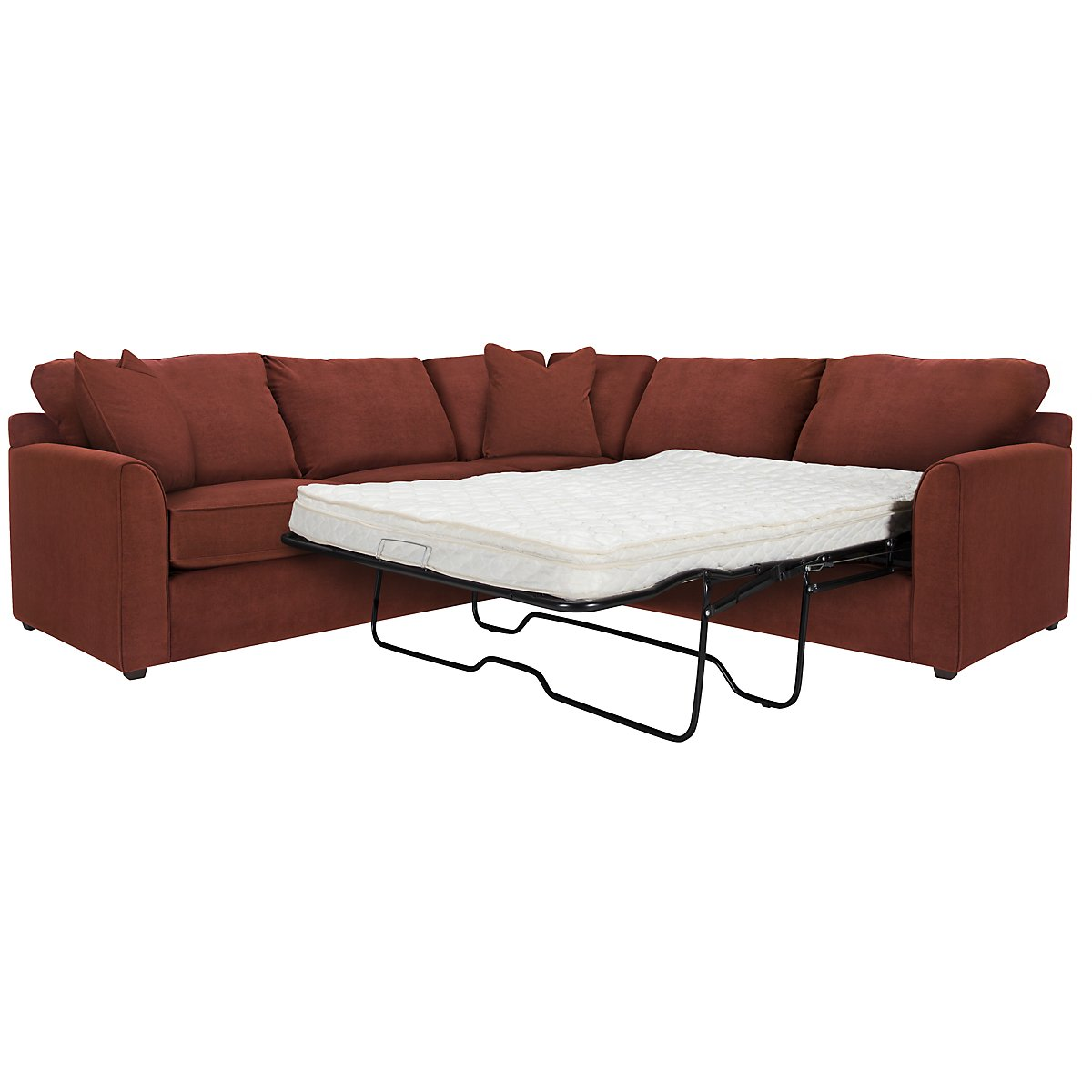 Express3 Red Microfiber Two-Arm Right Innerspring Sleeper Sectional