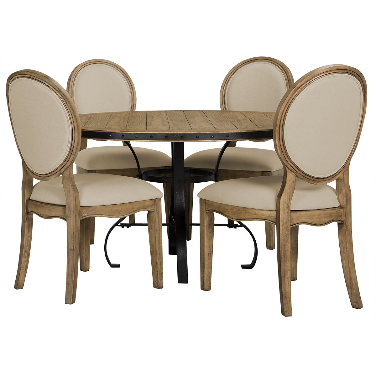 Shelbourne2 Mid Tone Round Table & 4 Round Chairs