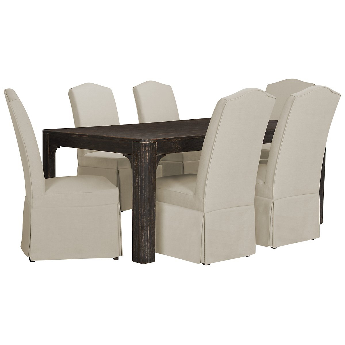 Bellagio Black Rectangular Table & 4 Upholstered Chairs
