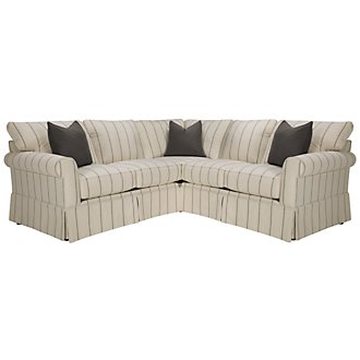 Product Image: Leona Stripe Fabric Small Two-Arm Sectional
