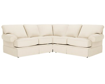 Kylie Beige Cotton Small Two-Arm Sectional