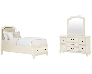 Madison White Upholstered Panel Storage Bedroom