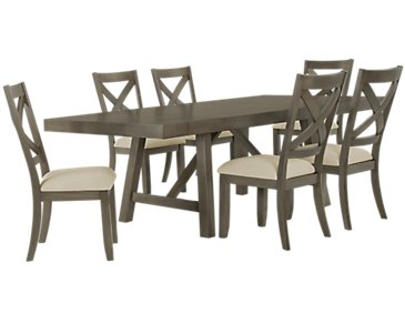 Omaha Gray Rectangular Table & 4 Wood Chairs