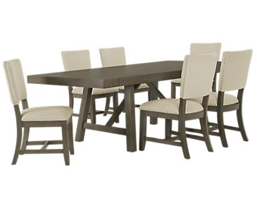 Omaha Gray Rectangular Table & 4 Upholstered Chairs